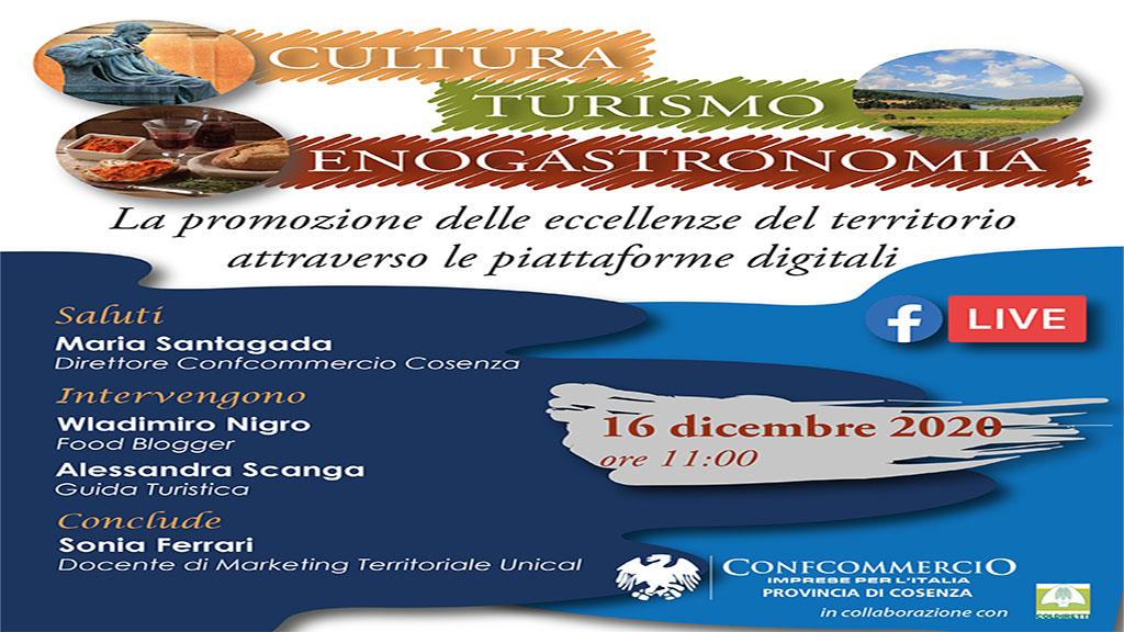 Cultura, Turismo ed Enogastronomia Online. Webinar il prossimo 16 dicembre