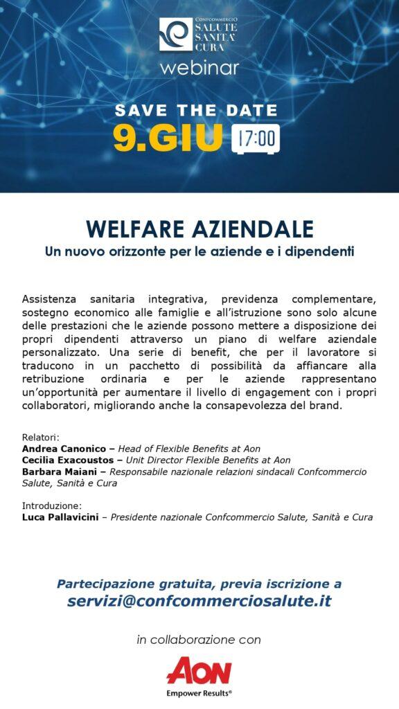 locandina webinar sul welfare aziendale che si terrà il 9 giugno alle ore 17:00